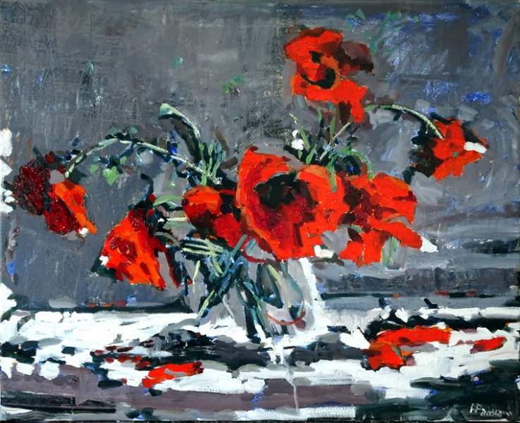 Poppies in free swing  (SOLD)